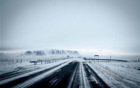 Wallpaper Winter, road, highway, snow, fog