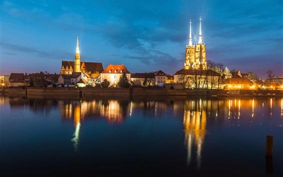 Fond d'écran Wroclaw, Pologne, rivière, nuit, lumières, maisons