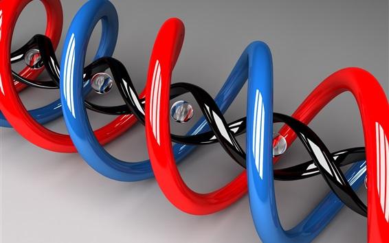 Wallpaper 3D DNA spiral shaped figure