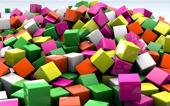 Fondos de pantalla Cubos 3D, colores de colores