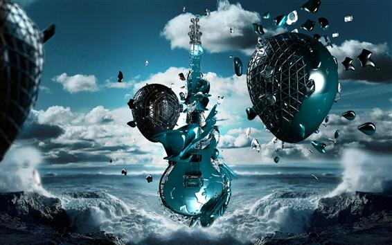 Обои 3D-гитара, яйцо, полет, побережье, море