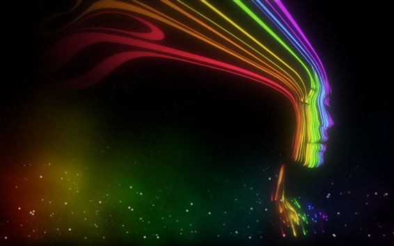 Wallpaper Abstract face, colorful, black background