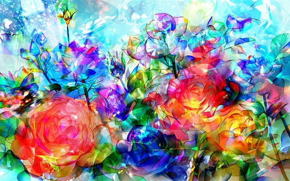 Wallpaper Abstract roses, flowers, colorful