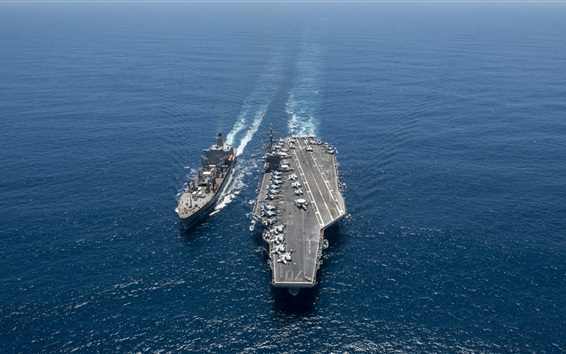 Wallpaper Aircraft Carrier, USS Carl Vinson, battleship, sea