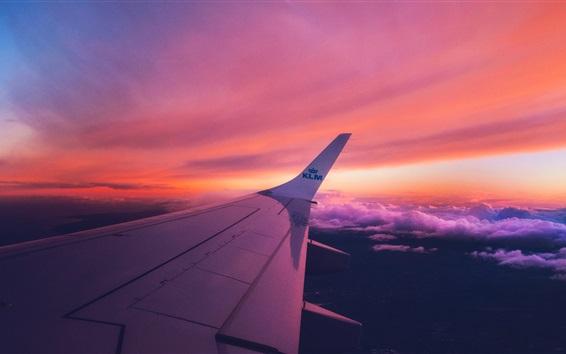 Aeronave ala puesta de sol las nubes fondos de pantalla for Fondos de pantalla de aviones