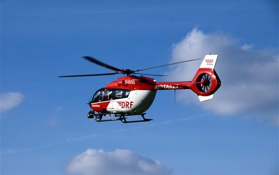 Обои Вертолет скорой помощи, полет, небо