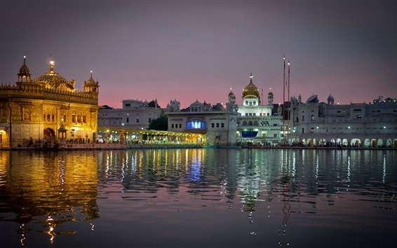 Wallpaper Amritsar, India, city evening, temple, lights, water