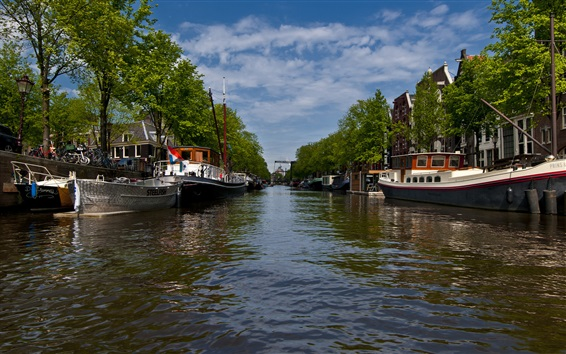 Wallpaper Amsterdam city views, river, boats, trees, clouds