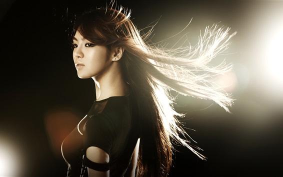 Wallpaper Asian girl, hair flying, wind, glare