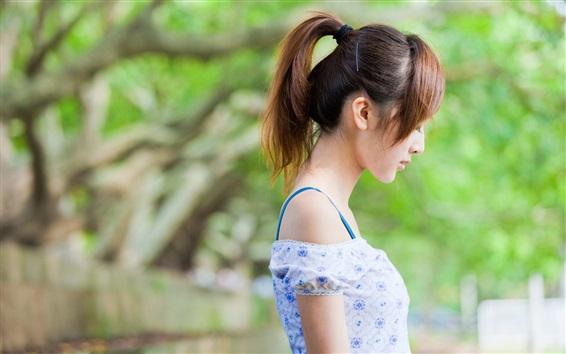 Wallpaper Asian girl side view, summer dress
