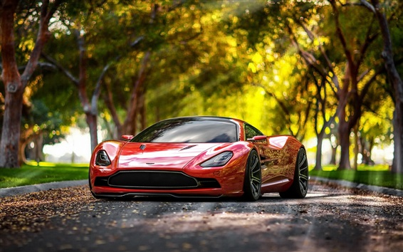 Wallpaper Aston Martin concept red supercar front view, trees, road