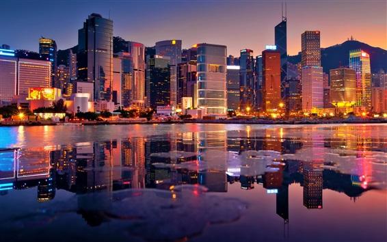 Papéis de Parede Bonito, Hong, kong, noturna, vista, cidade, arranha-céus, luzes