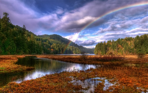 Wallpaper Beautiful nature landscape after rain, rainbow, trees, lake, autumn