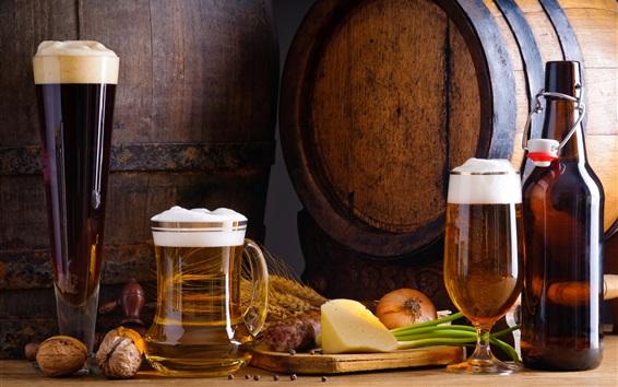 Обои Пиво, бутылка, пена, орехи