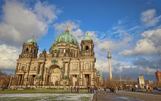 Обои Берлин, Германия, собор, улица, люди