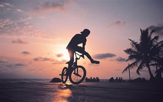 壁紙 自転車ショー、日没