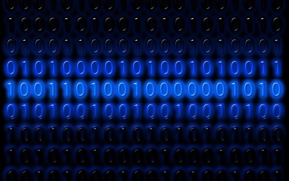 Wallpaper Binary code numbers, one or zero, blue, digital