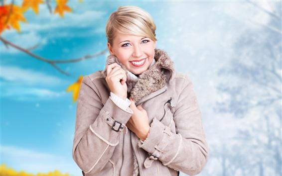 배경 화면 금발의 여자, 미소, 겨울, 코트