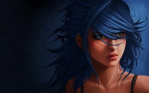 Wallpaper Blue hair fantasy girl, green eyes