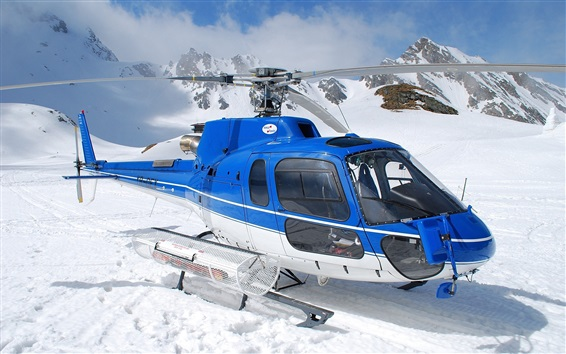 Wallpaper Blue helicopter, snow, winter