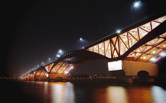 Wallpaper Bridge, lights, night, river, illumination