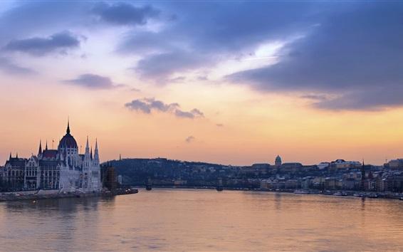 Wallpaper Budapest, Danube, river, houses, dusk, clouds, Hungary