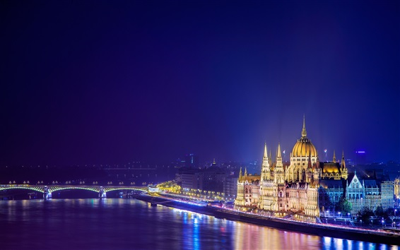 Wallpaper Budapest, Hungary, night city, river, bridge, buildings, lights