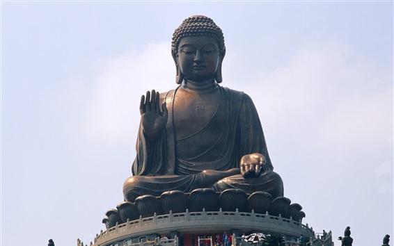 Wallpaper Buddha statue, Hong Kong