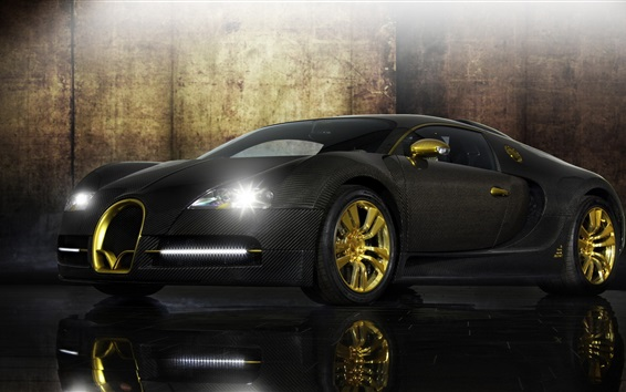 Wallpaper Bugatti Veyron black supercar