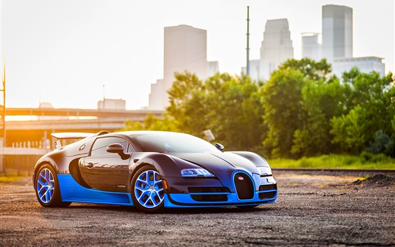 Wallpaper Bugatti Veyron blue car side view, city, sunshine