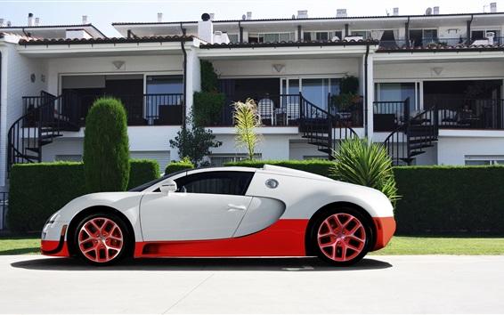 Wallpaper Bugatti Veyron supercar, white and red color