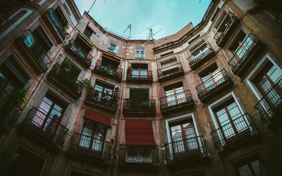 Fond d'écran Bâtiment, balcons, maisons