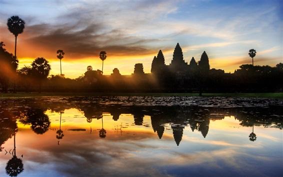 Fond d'écran Cambodge, temple, coucher de soleil