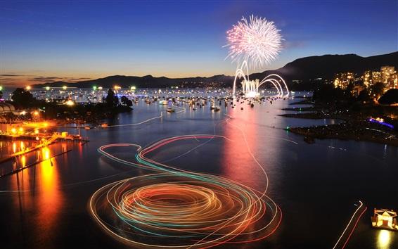 Fondos de pantalla Canadá, Columbia Británica, English Bay, Vancouver, fuegos artificiales, noche de la ciudad