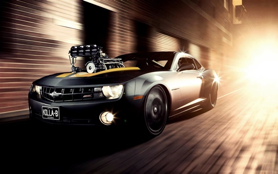 Wallpaper Chevrolet Camaro SS concept black car speed