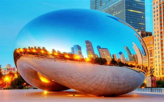 Wallpaper Chicago Millennium Park, dusk, skyscrapers, lights, USA