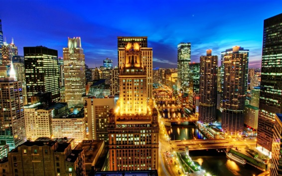 Wallpaper Chicago city night view, skyscrapers, lights, USA