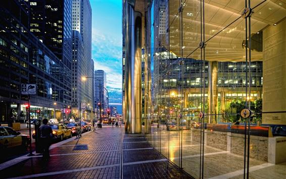 壁纸 芝加哥,城市街道,摩天大楼,汽车,灯光,晚上