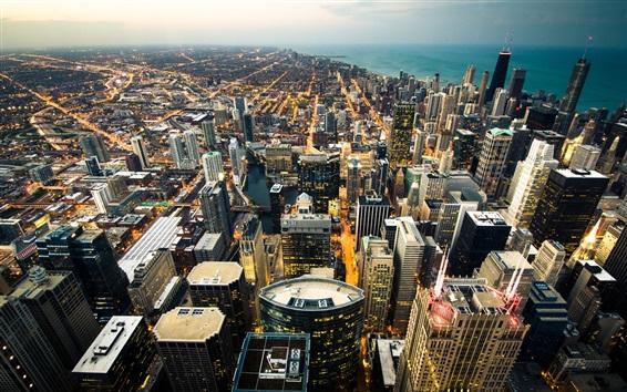 Papéis de Parede Chicago, arranha-céus, crepúsculo, luzes, EUA