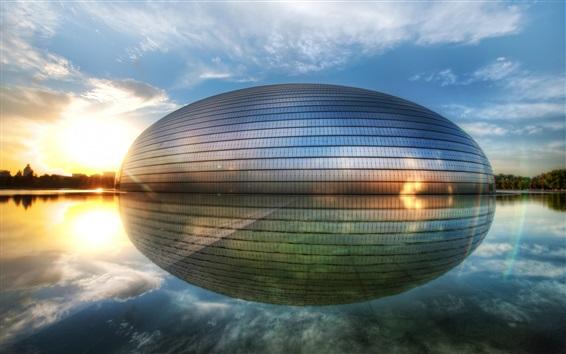 Wallpaper China, buildings, lake, water reflection
