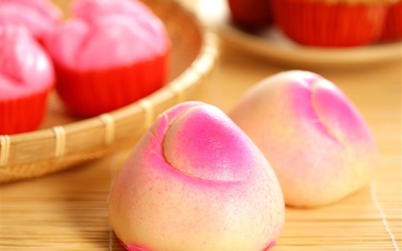 Wallpaper Chinese traditional food, pastry, peach shaped