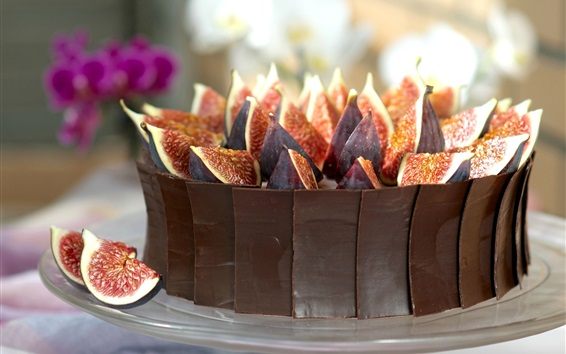 Wallpaper Chocolate cake, figs