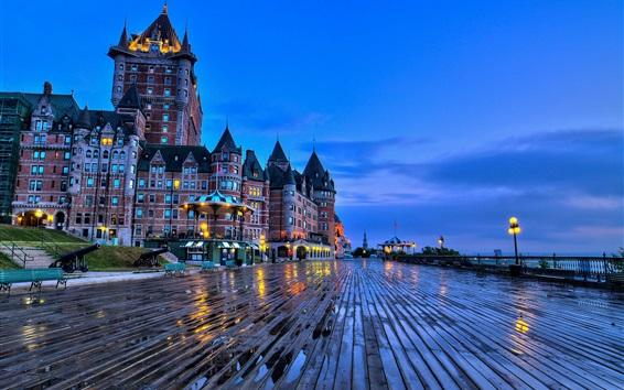 Wallpaper City, dusk, buildings, castle, lights, wet
