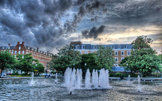 Wallpaper City fountain, water, trees, dusk, clouds