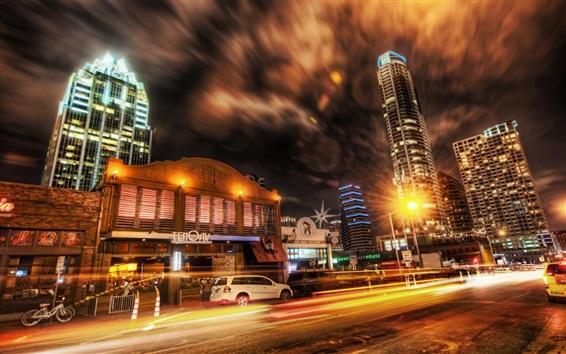 Fondos de pantalla Ciudad, noche, calle, camino, tráfico, coches, rascacielos, luces