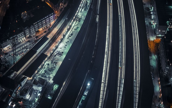 Fond d'écran City night, vue de dessus, chemins de fer