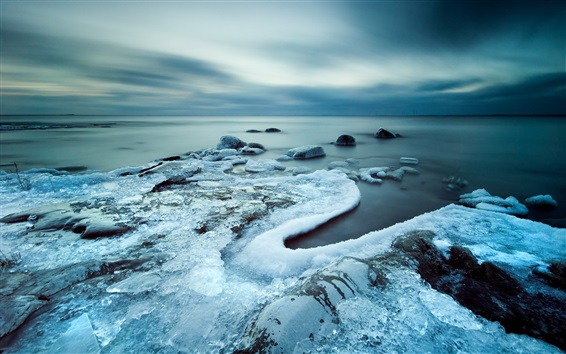 Wallpaper Cold coast, sea, ice, gloomy sky