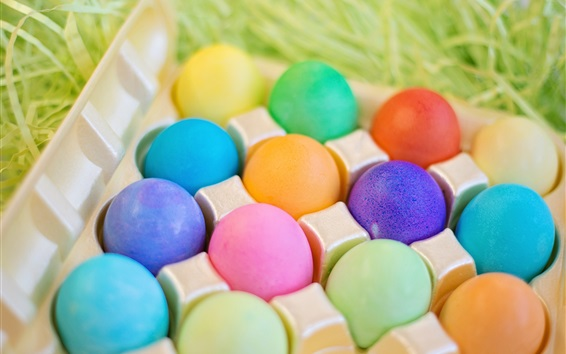 Wallpaper Colorful eggs, Easter, grass