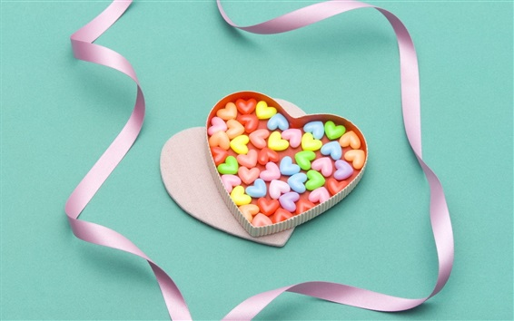 壁纸 多彩的心糖果,丝带,礼物
