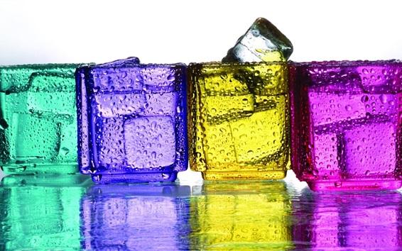 배경 화면 다채로운 얼음 조각, 물 방울